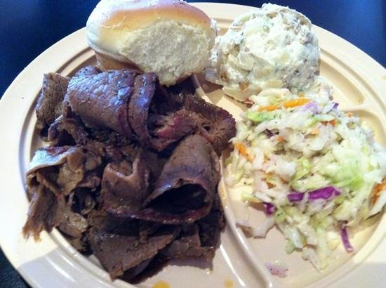 Whole Hog Cafe North Little Rock: Tasty beef brisket with potato salad and cole slaw -- mmm good.