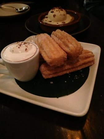Mamacita Restaurant & Bar : churros and flourless chocolate cake with dulce de leche ice cream