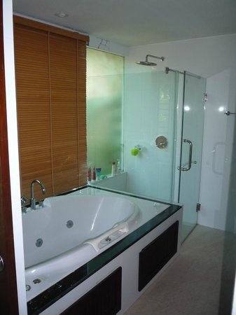 Pilanta Spa Resort: Large well appointed bathroom with wc, shower, spa bath