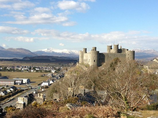 Maelgwyn House Bed & Breakfast: Le chateau d'Harlech avec le Snowdonia parc au fonds