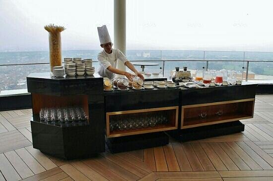 The Trans Luxury Hotel Bandung: breakfast buffet served on the 18th floor