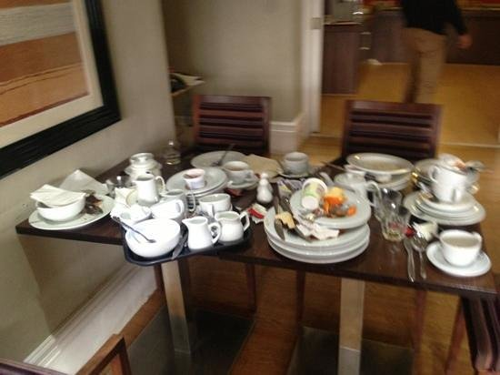 The Collection Hotel Birmingham: walk into breakfast to see this. piles of dirty plates. nice