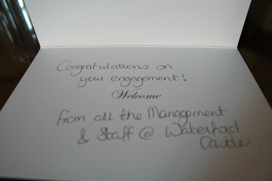 Waterford Castle Hotel & Golf Resort: Congratulations card