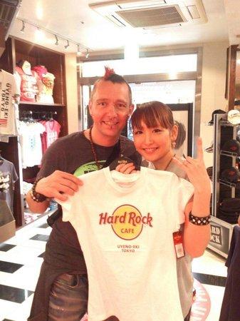 The Hard Rock Cafe Ueno Station: merchandise on sale