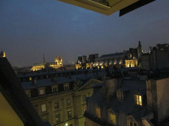 Grand Hotel du Loiret : View of Notre Dame and Hotel de Ville from our window.