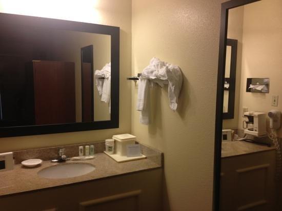 Quality Inn University : Sink area outside bathroom