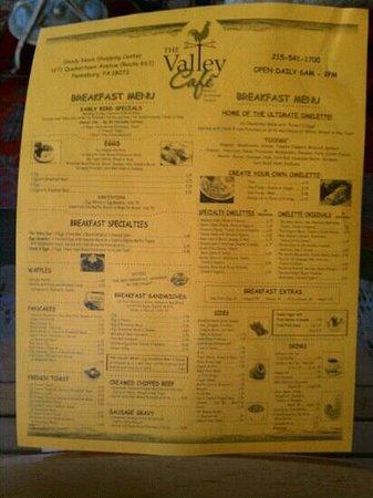 Valley Cafe Pennsburg Menu