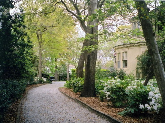 Charlotte Street Cottage: Private drive through gardens