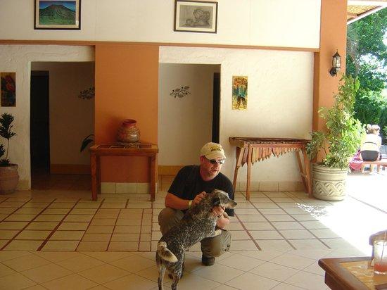 Hotel Hacienda Guachipelin: next to the pool area with hotel doggie