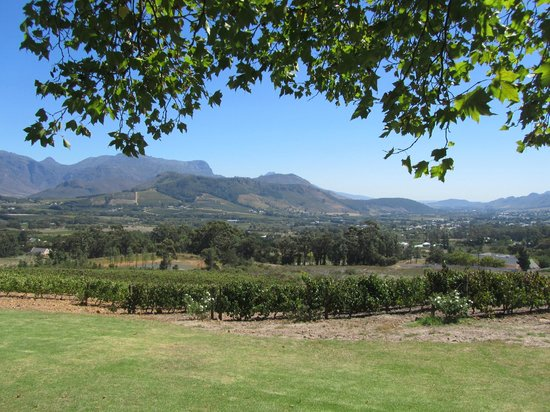 La Petite Ferme: View of Franschhoek valley and vineyards fromthe verandah