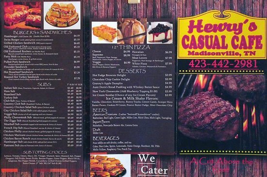 "Henry's Casual Cafe: The ""New"" Menu - (outside)"