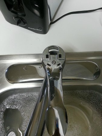 Extended Stay America - Pensacola - University Mall: Kitchen faucet missing Hot Cold label