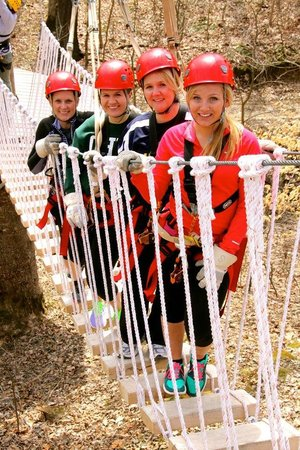 Hocking Hills Canopy Tours: One of the lower supsension bridges