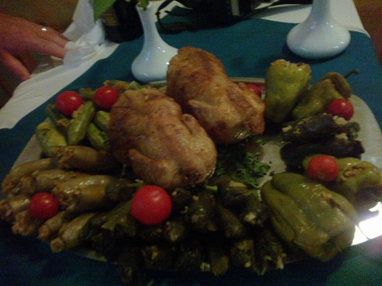 One of the platters of our main course,  at Gerda's Garden, Luxor
