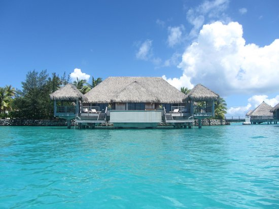The St. Regis Bora Bora Resort: View of our villa from the water