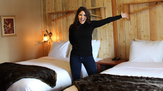 Western Riviera Lakeside Lodging & Events: Blanche Garcia showing off her new design to one of our motel rooms