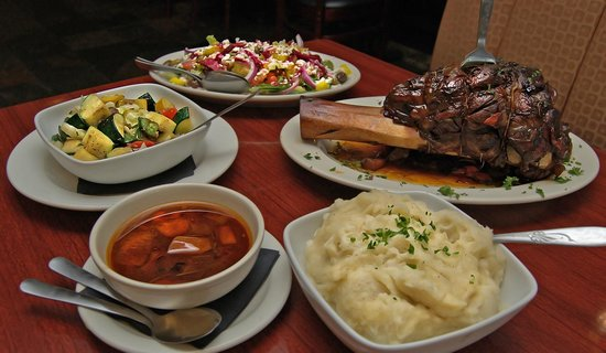 Skewers Mediterranean Grille: A table full of delightful foods.
