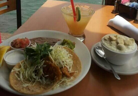 San Diego Pier Cafe : Cup of Clam chowder, tacos and Coyote Margarita