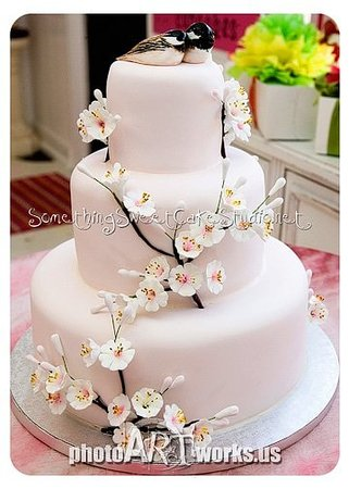 Something Sweet: Cherry blossom wedding cake