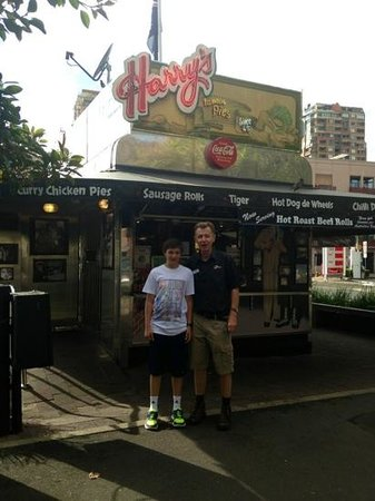 Real Sydney Tours: our tour guide and my son at Harry's