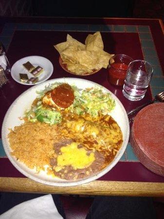 Celia's Mexican Restaurant: avocado tostada and enchilada