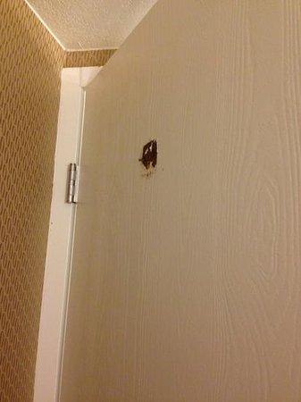 Crowne Plaza Sacramento: broken hook on bathroom door