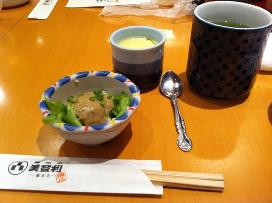 Umegaoka Sushino Midori Ginza: crab meat salad and steam eggs are included in the set (also miso soup)