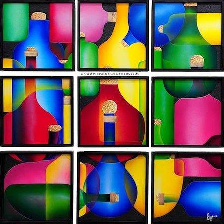 Riviera Art Gallery: Ricardo Campero 9 panels, botellas, 3D collage ( foamboard)