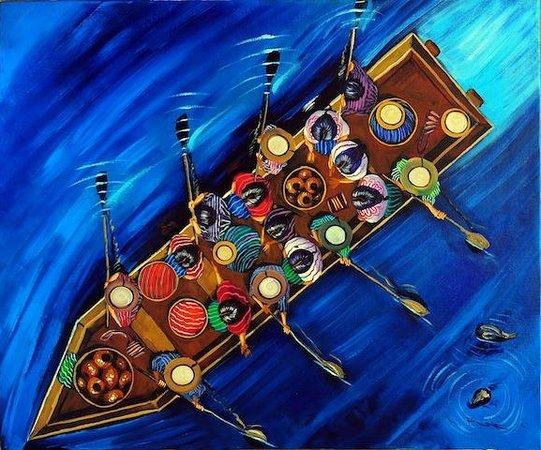 Riviera Art Gallery : PUAC, canoa, oil on canvas