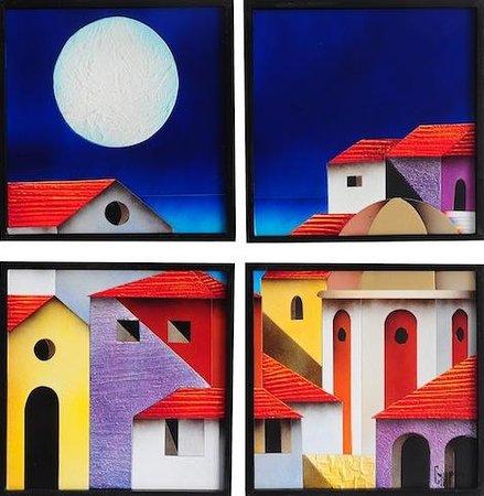 Riviera Art Gallery: Ricardo campero, 4 panels, abrazo de la noche, 3d collage(foamboard)