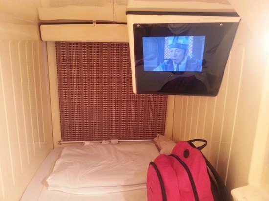 Shinjuku Kuyakushomae Capsule Hotel: in the capsule... with a tv and curtain to cover up the capsule