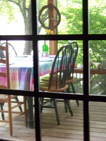 Snug Hollow Farm Bed & Breakfast: View of back porch from kitchen