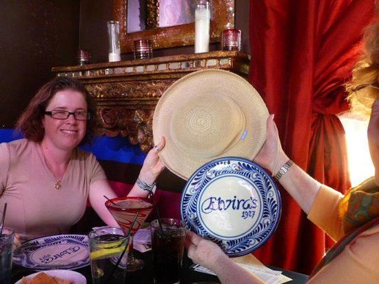 Lunch at Elvira's:  Photographed the hat everywhere we went--an inside joke