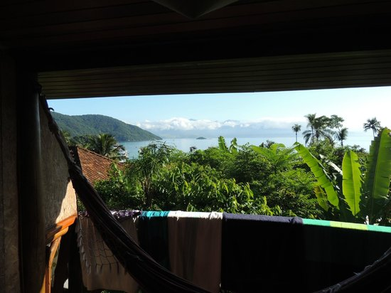 Pousada Naturalia: View over the bay from my room. The banana trees greew almost into the balcony