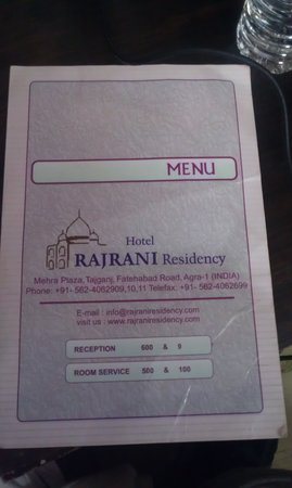 Rajrani Residency: took picture of hotel menu to BE SURE I was giving correct review for correct hotel