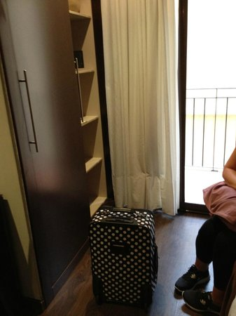 Hotel Acta BCN 40: The closet and only floor space in the room