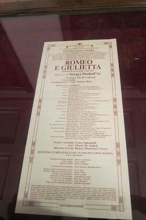 Teatro dell'Opera di Roma: 當天表演節目單