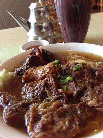 Congee Queen: beef noodles with red bean desert.