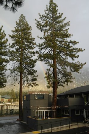 Basecamp South Lake Tahoe: View across to Heavenly, with rainbow!