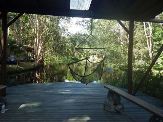 The Arts Factory Backpackers Lodge: over looking the water, the tents are to the left