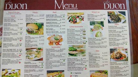 The menu picture of cafe dijon bali kuta tripadvisor cafe dijon bali the menu sciox Images