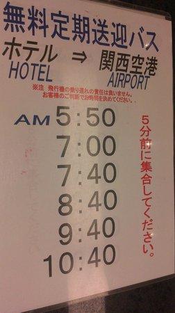 Kansai Airport Spa Hotel Garden Palace: shuttle bus schedulle
