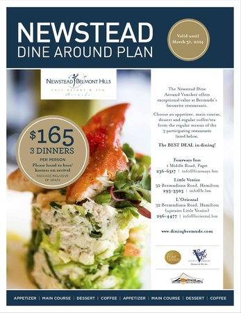 Newstead Belmont Hills Hotel: Sample dining menu