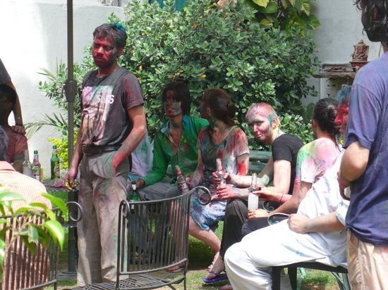 Hotel Kabli: Holi in the garden.