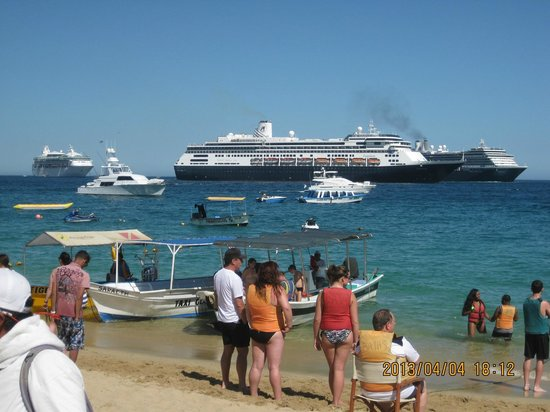 cabo villas beach resort cruise ships frequently dock by medano beach - Cabo Villas Medano Beach