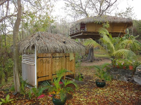 Habitation Getz: Außendusche mit Meerblick & Cabanes Zoé