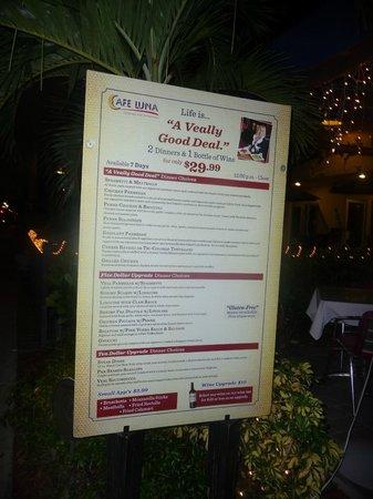 Cafe Luna: Cartel de promoción del menú