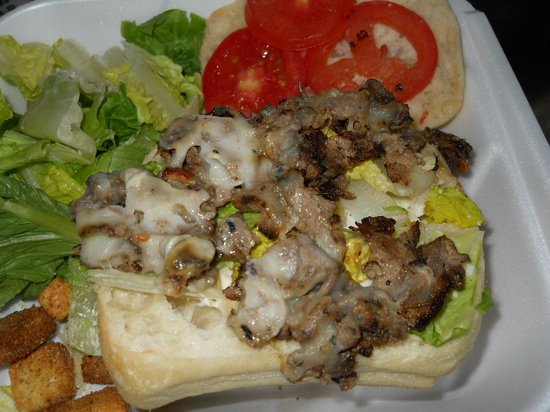 Ledo Pizza : the steak and cheese sandwich as served