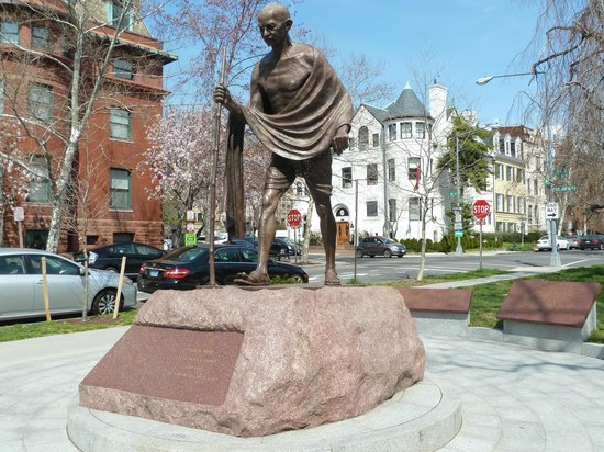 The Fairfax at Embassy Row, Washington D.C.: Between the hotel and the Embassy of India: Gandhi of course
