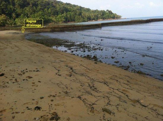 White House Bailan Resort : spiaggia a sx del resort con cloaca interrata